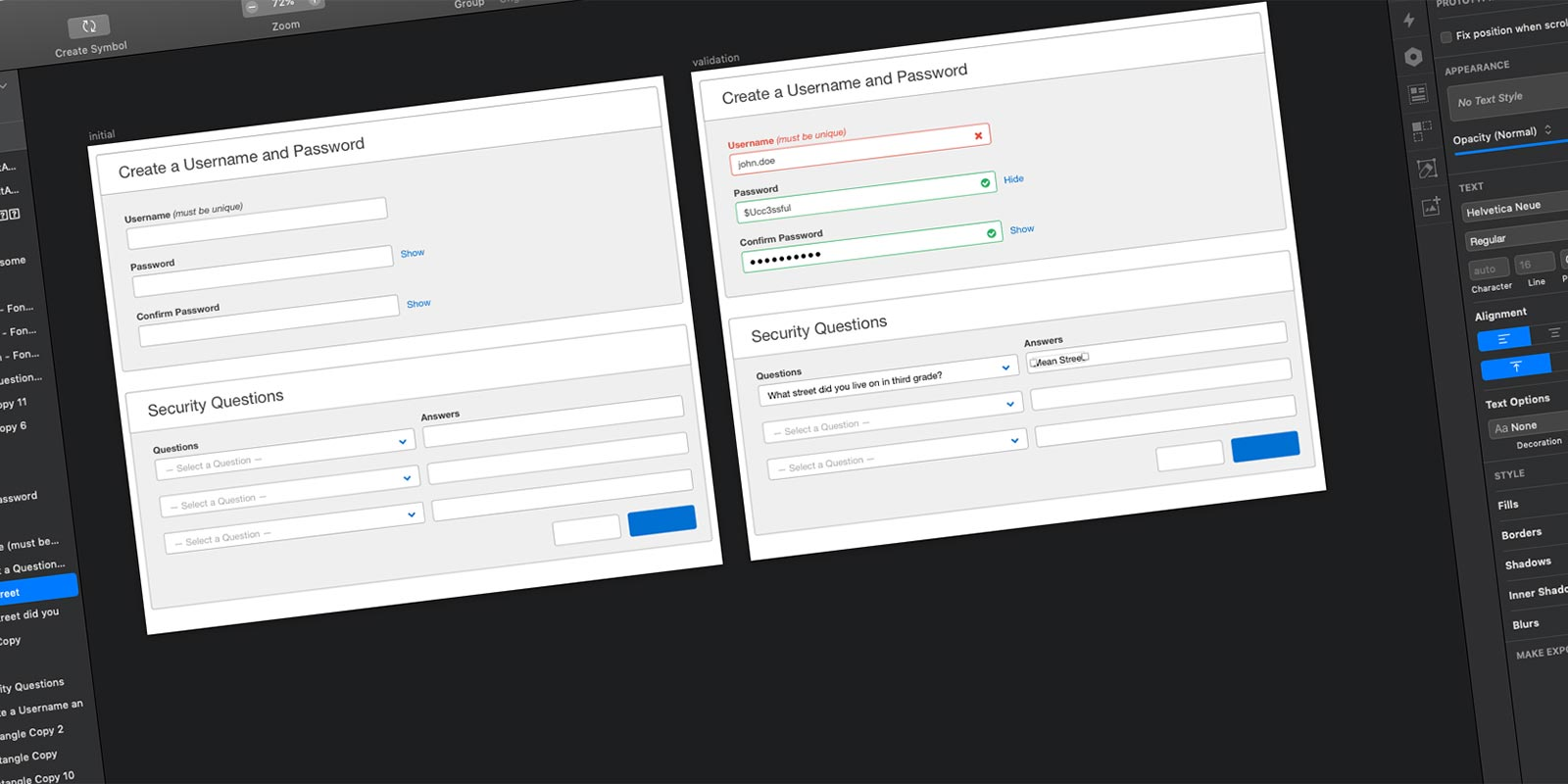 Initial Log in Wireframe.